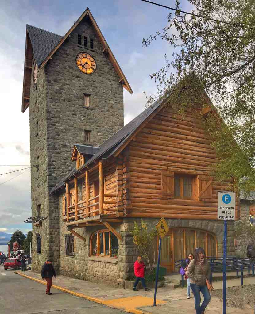 Stone and wood Building in Bariloche Argentina