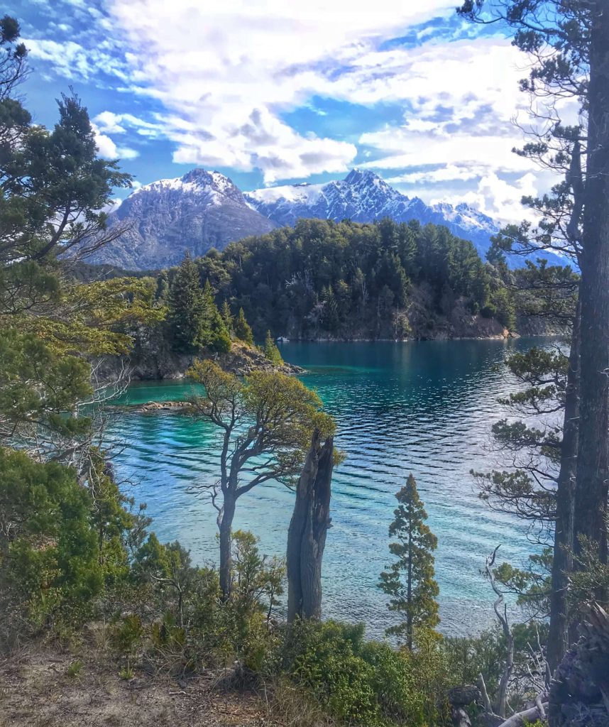 Hike just outside of Bariloche Argentina with snow capped mountains