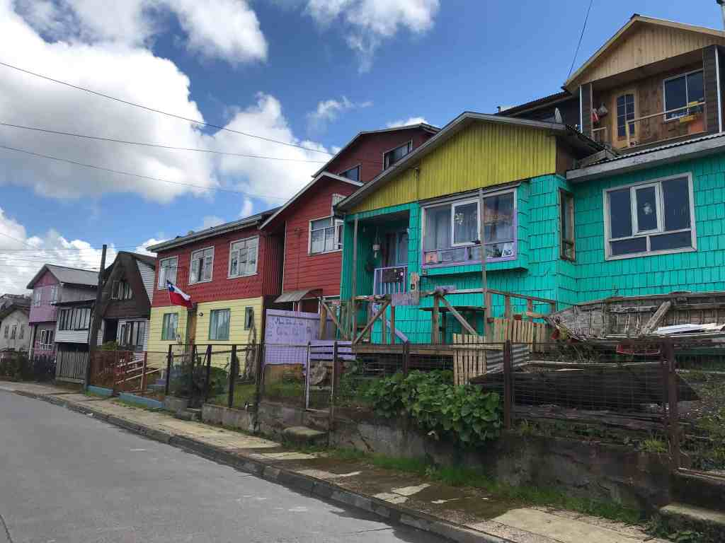 Colorful houses on a street in Castro in Chiloe Chile