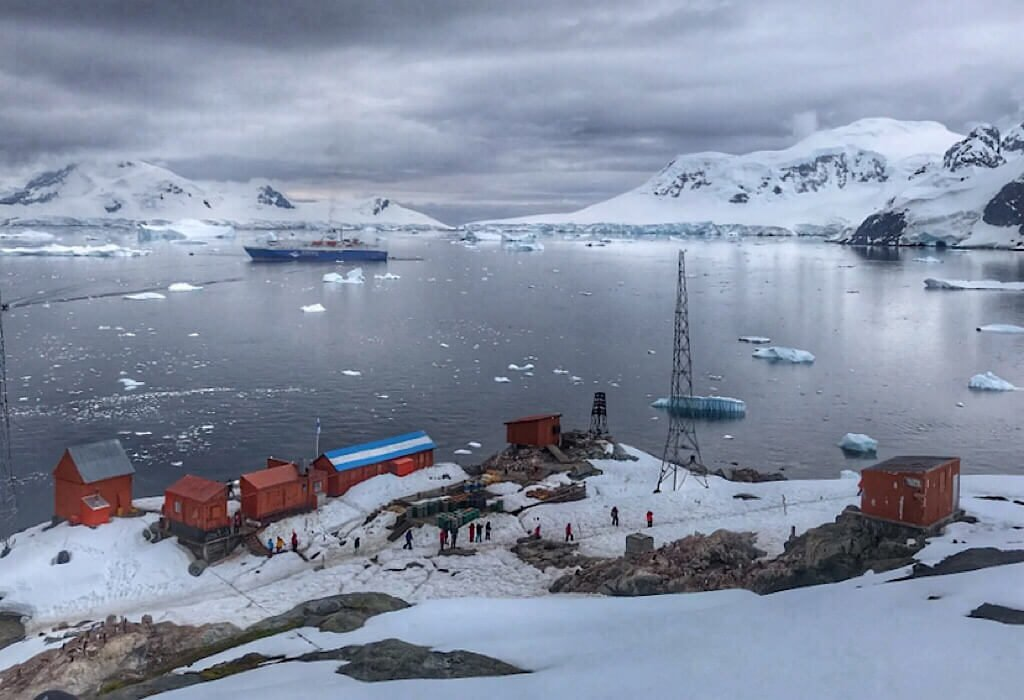 Brown Argentina Base and Research Station on Antarctica