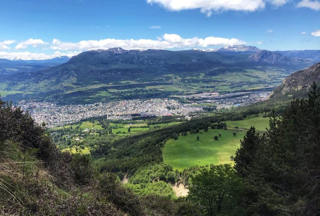 View of Coyhaique from partway up the mountain in the Patagonia region