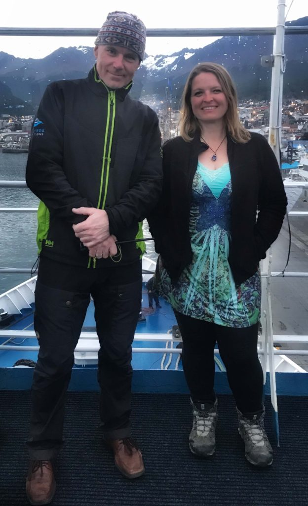 David Reid and Bonnie Truax on the ship docked in Ushuaia