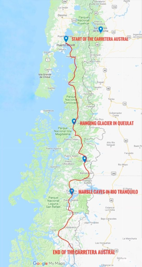 Map of the Carretera Austral scenic route in the Patagonia region
