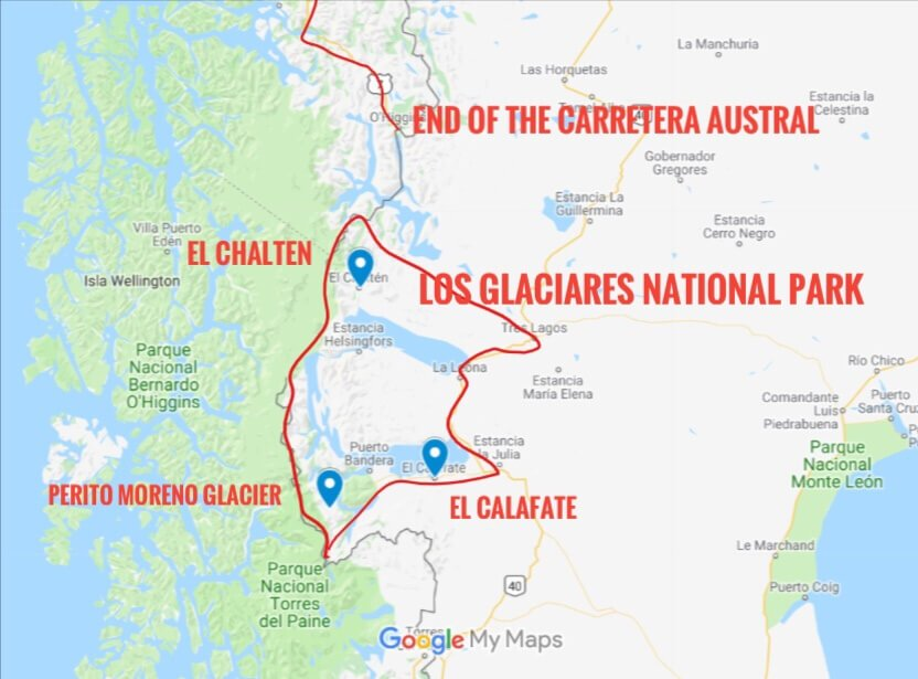 Map of the Los Glacieres National Park located in the Patagonia region
