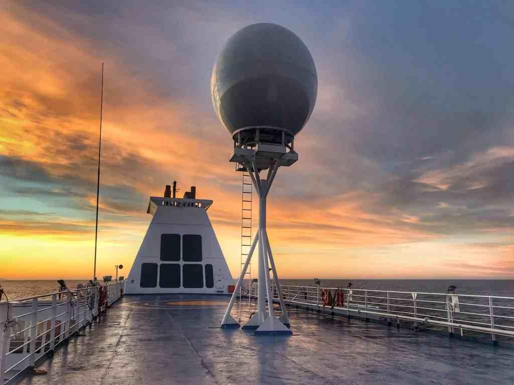 Sunset from the Ocean Atlantic Ship near the Falkland Islands