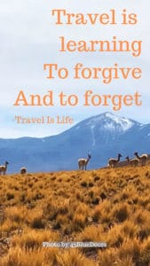 Travel is learning To forgive And to forget