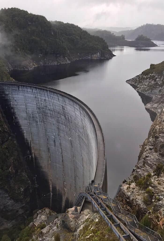 Gordon Lake, Tasmania, Australia and Gordon Dam