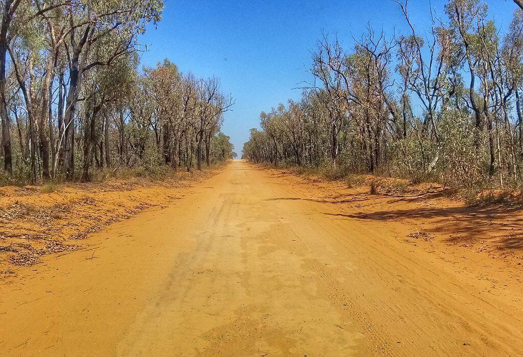 A long dusty road in New South Wales Australia