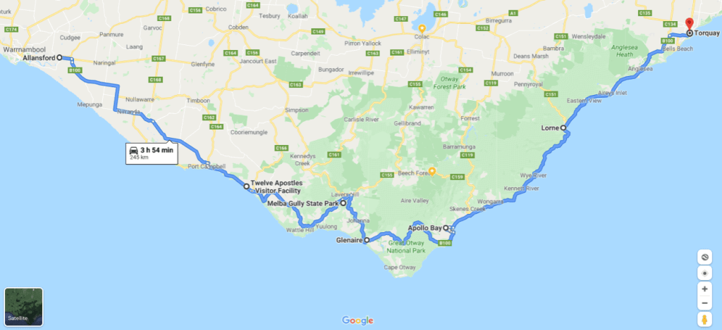 Map of The Great Ocean Road, Victoria, Australia