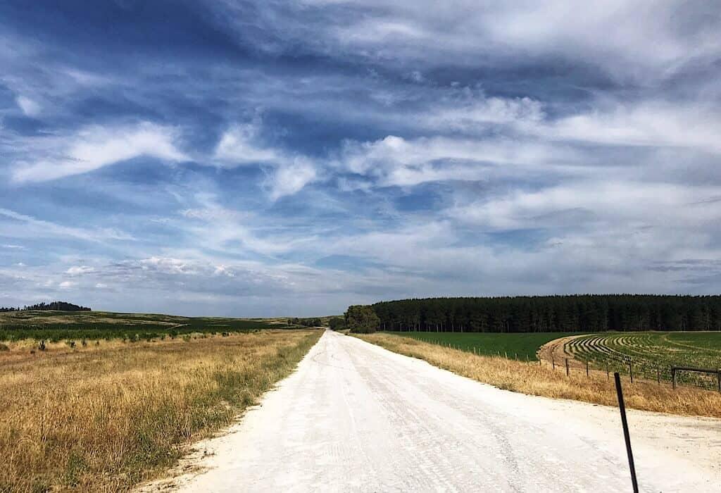 White limestone roads along the Limestone Coast in South Australia