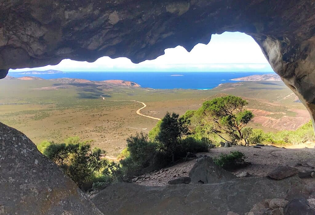 View of the beaches of La Grand from the cave at the top of Frenchmens cap