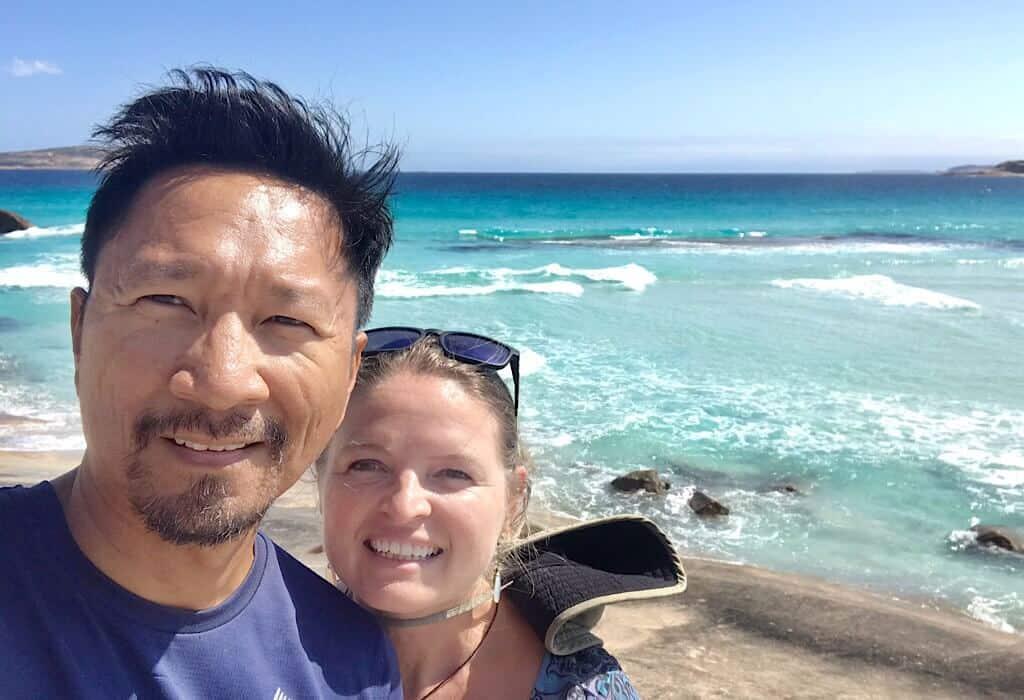 Trin and Bonnie near the beach in Esperance, Western Australia