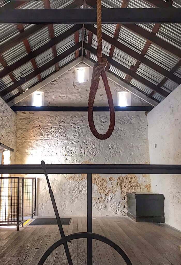 The noose in the hanging room in Fremantle Prison in Western Australia
