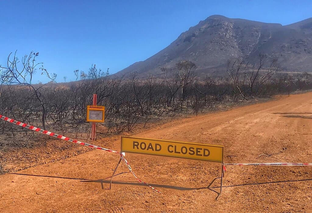 Road closed after fires in the Sterling Range of Western Australia