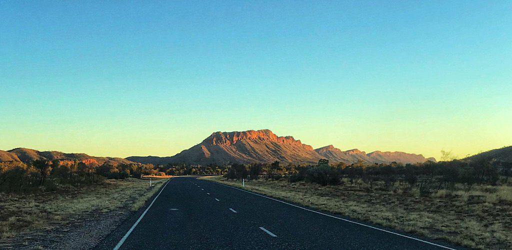 Approaching the MacDonnell Range in the red center