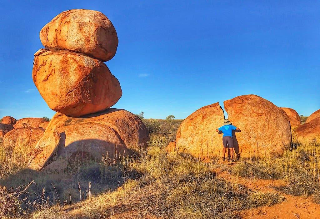 Stacked boulders at Devils Marbles
