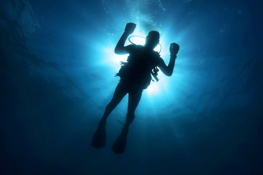 Diver with light behind them