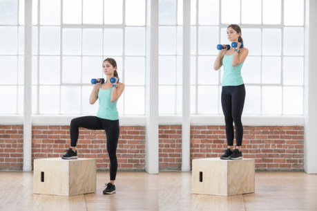 A box provides a great base for dumbbell step-ups.