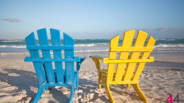 Beach wooden chairs for vacations and summer getaways in Tulum, Mexico