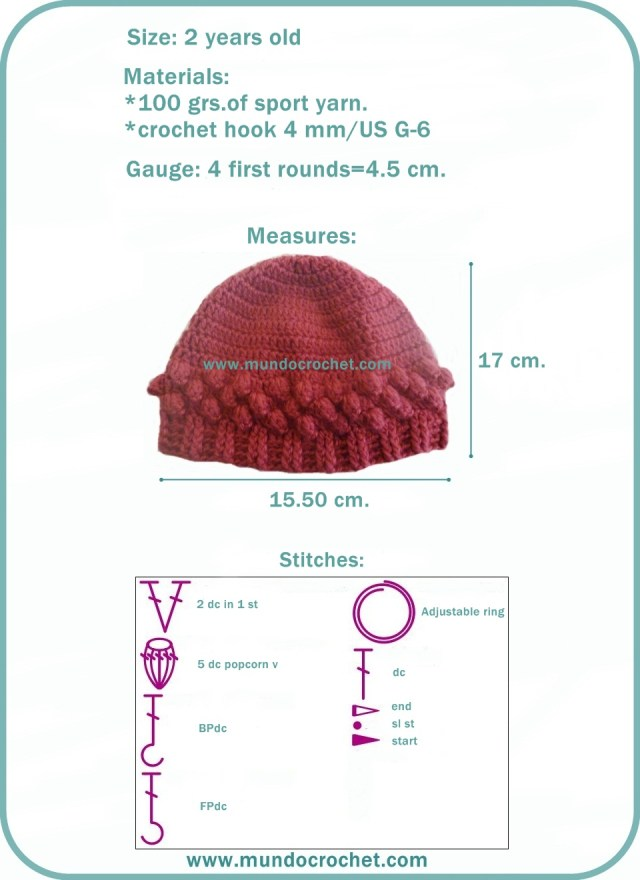 Popcorn crochet stitch hat free pattern1