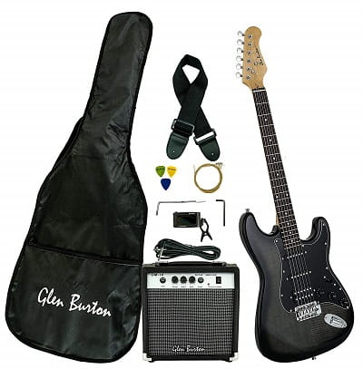 Glen Burton GE101BCO-BKB Electric Guitar Stratocaster-Style Combo with Accessories and Amplifier