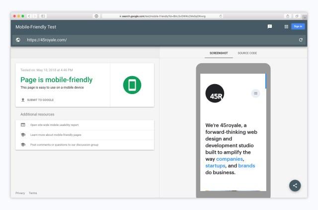 Mobile first design - Google test