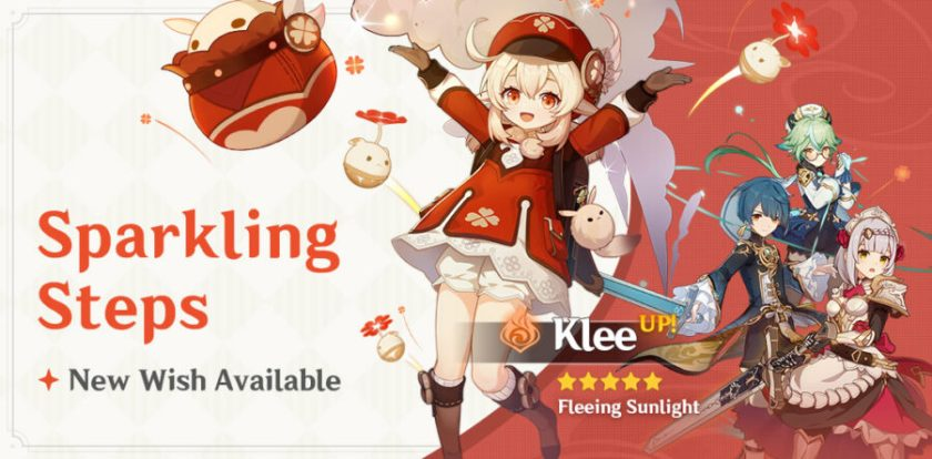 A photo of the new Klee event greeting banner titled Sparkling Steps