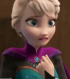 Elsa, trying to hide her deepest darkest secrets.