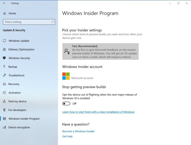 New simplified Windows Insider Program Settings page via Settings > Update & Security > Windows Insider Program.