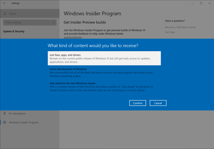 """Step 3: Choose """"Just fixes, apps, and drivers"""" to join the Release Preview ring and get the May 2020 Update."""