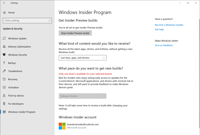 """Step 6:After rebooting your PC, double-check your Windows Insider Program settings via Settings > Update & Security > Windows Insider Program and make sure it shows """"Release Preview"""" under """"What pace do you want to get new builds?""""."""