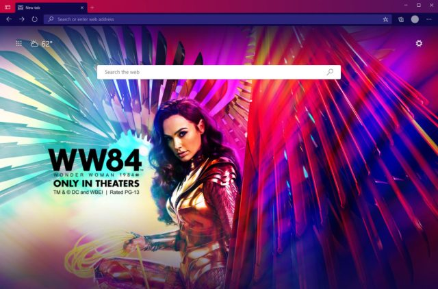 Promotional image for the movie Wonder Woman 1984 on the Microsoft Bing homepage
