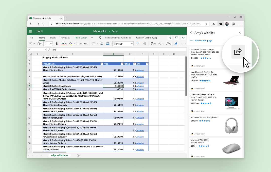 Screenshot highlighting the Send to Excel button in the Collections pane