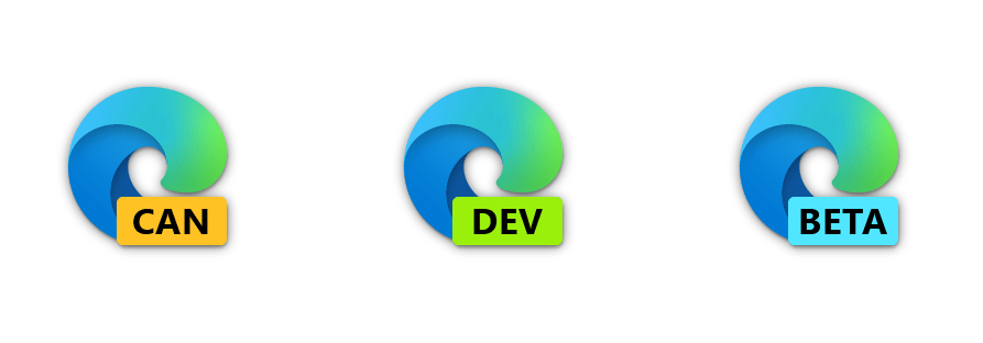 Logos for Microsoft Edge Canary, Dev, and Beta channels
