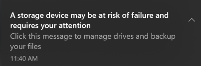 Image of toast notification sent to users when NVMe SSD abnormalities are detected.