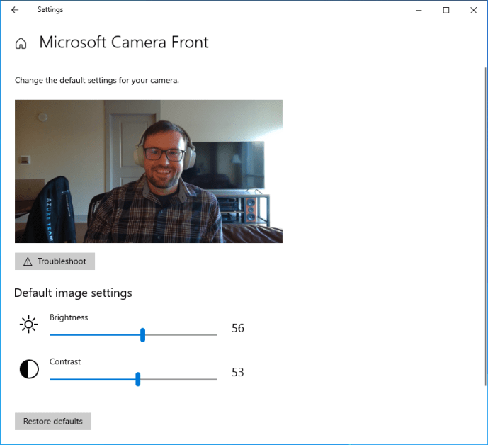 The Configure page for cameras allows you to adjust default image settings such as brightness and contrast.