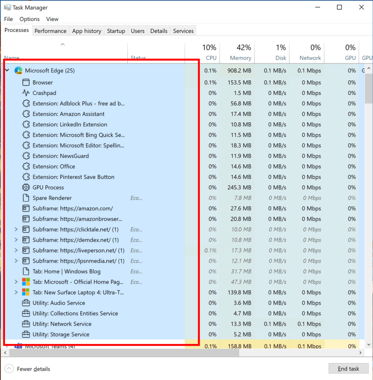 Showing Microsoft Edge process classification support in Task Manager.