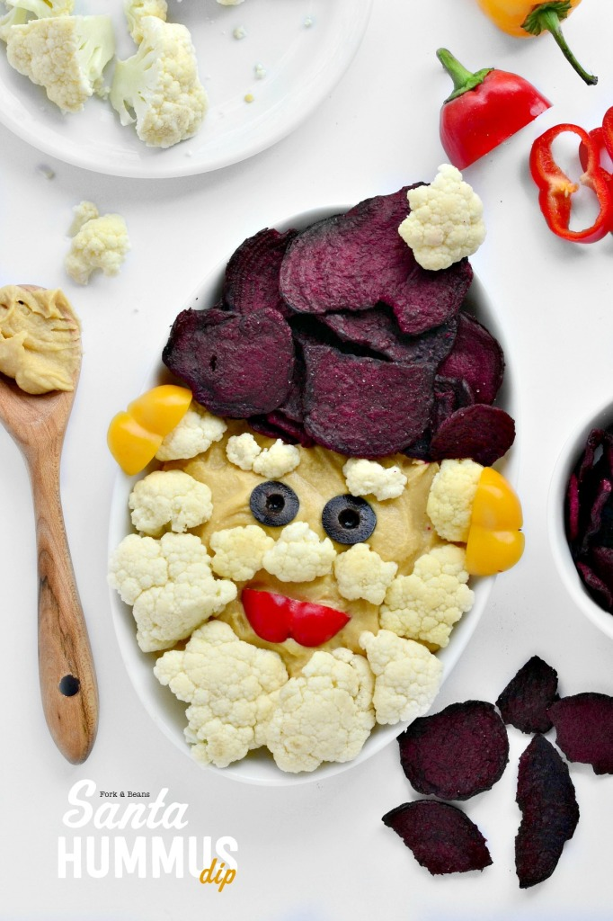 Easy, healthy, and festive! This Santa Hummus Dip is a party must.