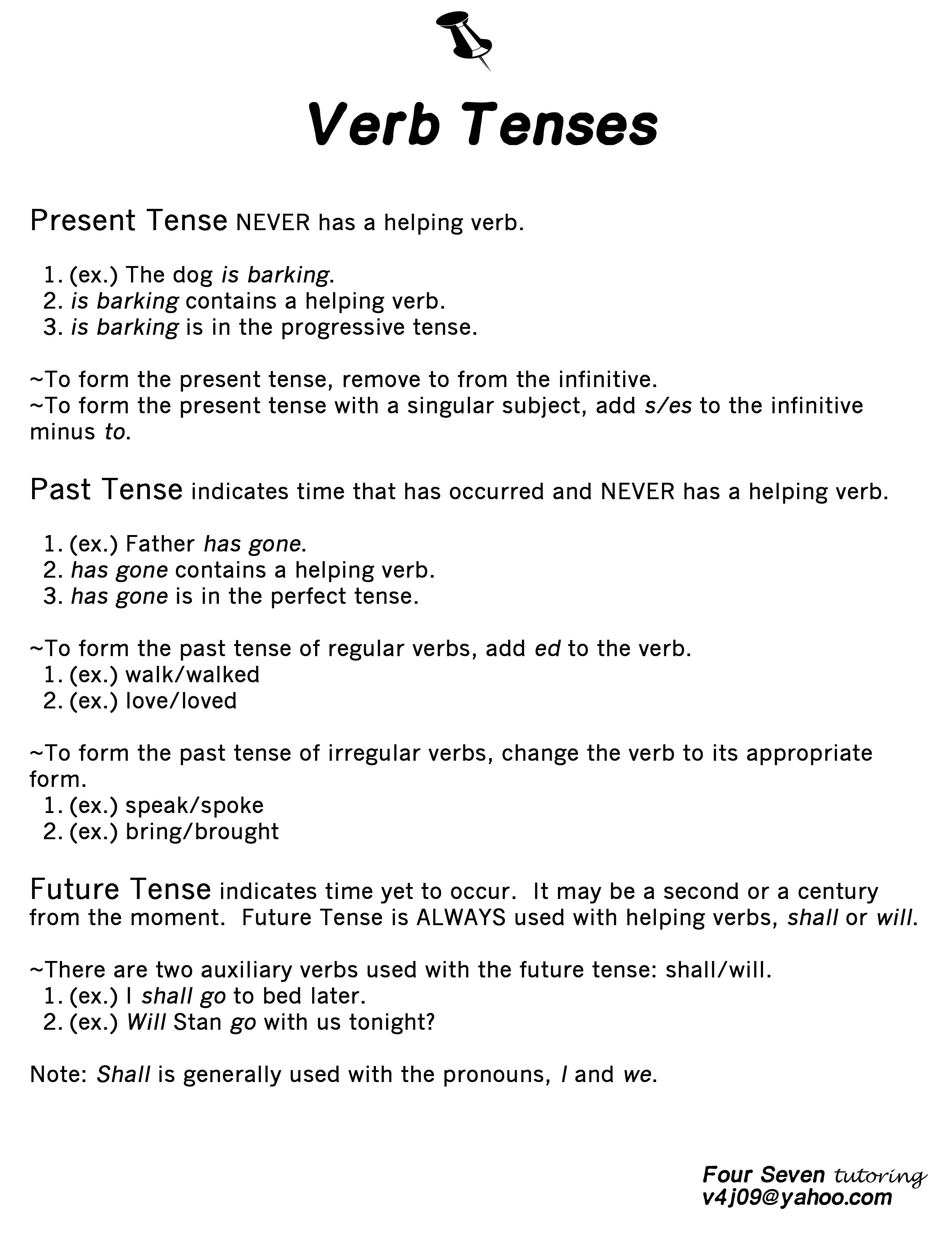 Verb Tenses Lesson 1 Resource