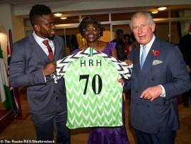 Photos of Joseph Yobo presenting Nigerian jersey to Prince Charles in Lagos