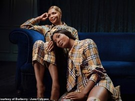 Naomi Campbell, 48, and her mum Valerie Morris, 64, look gorgeous as they pose for Burberry Christmas shoot (Photos)