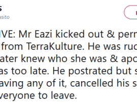 Mr Eazi reacts after he was allegedly thrown out and permanently banned from TerraKulture for being rude to the owner