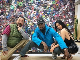Kim Kardashian and Kanye West strike a pose with famous artist Takashi Murakami in Tokyo (Photos)