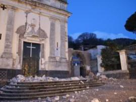 St. Agata church is seen damaged by an earthquake