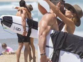 Chris Hemsworth and wife Elsa Pataky pack on the PDA as they enjoy a family day out at the beach (Photos)