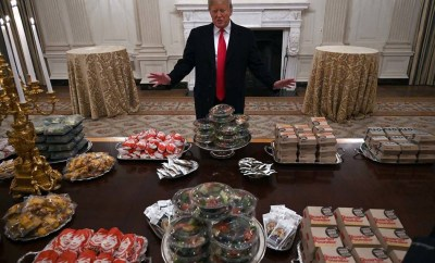 President Trump gets blasted for serving fast food to NFL college champions Clemson Tigers during White House visit (Video)