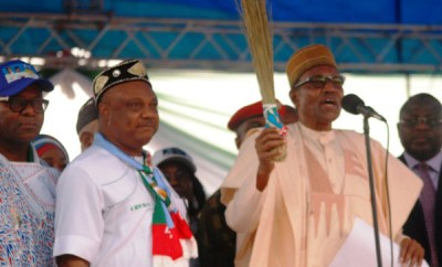 Trending video of President Buhari calling APC governorship candidate in Delta state
