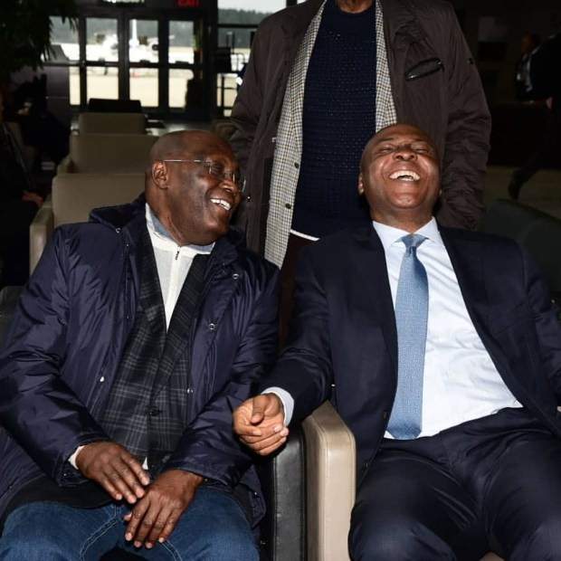 Caption this photo of Atiku Abubakar and Bukola Saraki in the US