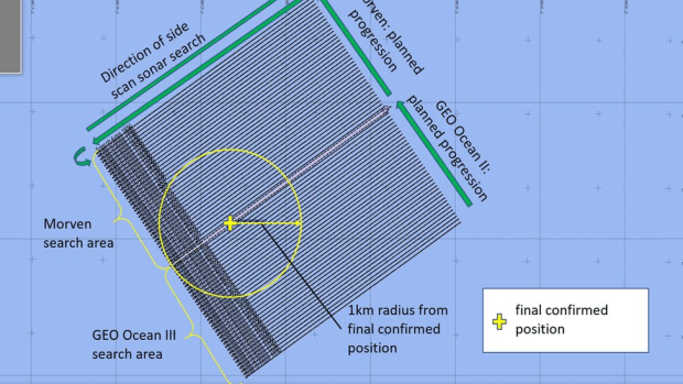 Search area of for Piper wreckage