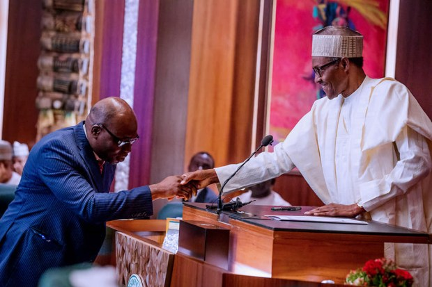President Buhari swears-In chairman and members of the Independent Corrupt Practises and Other Related Offences Commission (Photos)